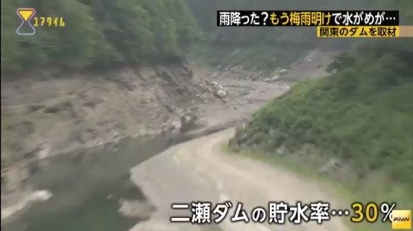 日本东京地区梅雨期结束水库因降水不足而严重缺水